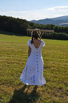 Šaty - Ľanové šaty maľované  - 9629583_