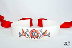 Opasky - Folk opasok Vajnory (Biely obojstranný šírky 5,5 cm- vzor v strede) - 9629430_