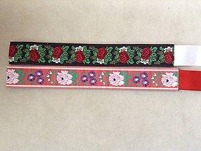 Opasky - Folk opasok 4,5 cm obojstranný (čierno-červený opasok so stuhou podľa želania) - 9628918_