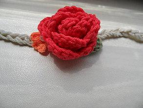 Ozdoby do vlasov - čelenka s červenou ružičkou - 9628890_