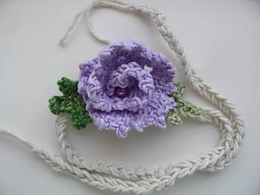Ozdoby do vlasov - čelenka s fialovou kvetinkou - 9629272_