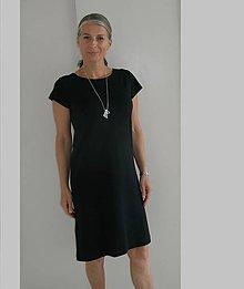 Šaty - Černé šaty s krátkým rukávem... - 9629521_