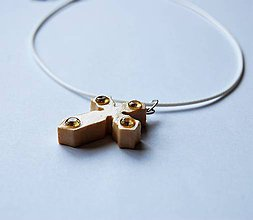 Náhrdelníky - Drevený náhrdelník - Žlté kamienky - 9628762_