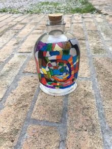 Kresby - Maľovaná mozaika na fľaške - 9628498_