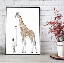 Grafika - Dieťa a Žirafa - obraz na odtlačky prstov - 9629264_