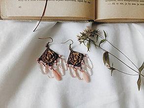 Náušnice - Marhuľkové ružičky - 9629664_