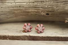 Náušnice - Náušnice z minerálov rodonit, ruženín - 9628044_