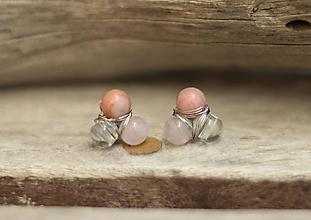 Náušnice - Náušnice napichovačky rodonit, ruženín, krištáľ - 9628035_
