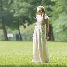 Šaty - VÝPREDAJ Dlhé krajkové šaty ivory - 9629008_