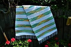 Úžitkový textil - Tkaný koberec bielo-zeleno-oranžovo-žltý - 9627227_