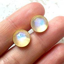 Náušnice - Faceted Moonstone Gold Plated Ag925 Stud Earrings / Pozlatené náušnice s brúseným mesačným kameňom AG925 - 9630732_