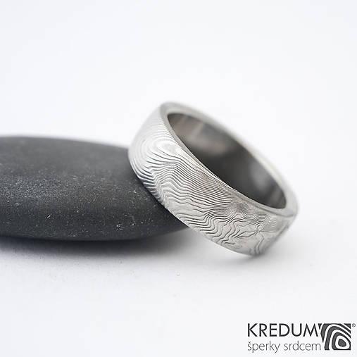 Prstene - Svadobná obrúčka z nerezové oceli damasteel - PRIMA - překované dřevo - 9630097_
