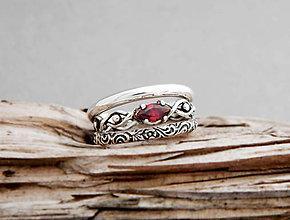 Prstene - 925 sada strieborných prsteňov s granátom - 9632183_
