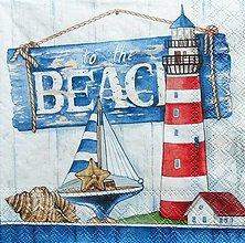 Papier - S1232 - Servítky - beach, pláž, maják, mušľa, dom, more, prúžky - 9631241_