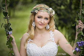 Ozdoby do vlasov - Kvetinový venček so zaujímavým zdvojením v prednej časti - 9629867_