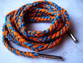 Obuv - Šnúrky do topánky - pomaranče a tyrkys - 9630697_