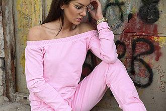 Mikiny - Mikina baby pink, holé ramená. - 9632864_