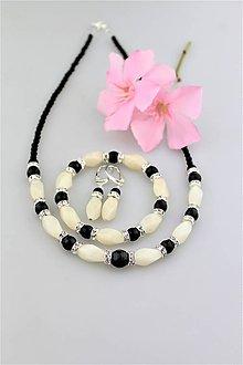 Sady šperkov - mesačný jadeit, ónyx náušnice náramok a náhrdelník - 9631261_