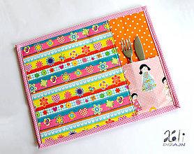 Textil - Detské prestieranie s vreckom na príbor Motýliky II. - 9630018_