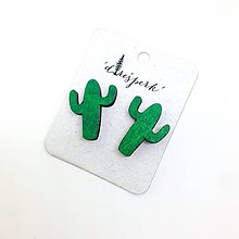 Náušnice - Kaktus maľovaný (smaragd) - 9631559_