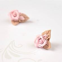 Náušnice - Popolavé ruže - napichovacie náušnice - 9630977_