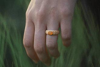 Prstene - Prsteň s jantárom - 9631404_