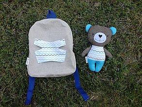 Batohy - Batoh s medvedíkom - vlnky - 9630243_