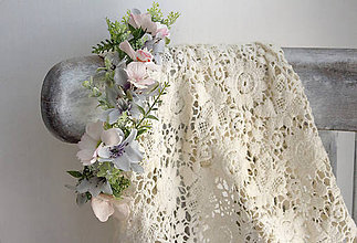 Ozdoby do vlasov - kvetinový polvenček ,,sivoružový,, - 9631675_