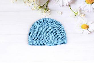 Detské čiapky - Modrá letná čiapka EXTRA FINE - 9631586_