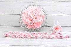 Kytice pre nevestu - Saténový svadobný set bledoružový ruže - 9631737_