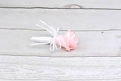 Kytice pre nevestu - Saténová kytica svadobná bledoružová ruže + pierko - 9631765_