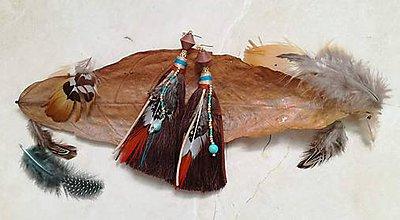 Náušnice - Boho indiánske hnedé nausnicky - 9631497_