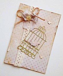 Papiernictvo - vintage pohľadnica s klietkou - 9630542_
