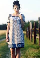 Šaty - Šedomodré kytičkové - 9632375_
