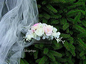 Ozdoby do vlasov - svadobný hrebienok - 9631493_