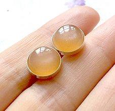 Náušnice - Peach Moonstone Ag 925 Stud Earrings / Náušnice s broskyňovým mesačným kameňom AG925 - 9633845_