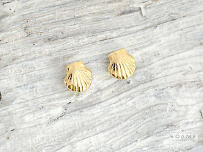 Náušnice - 585 zlaté pecky Mušličky - 9633880_