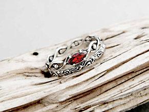 Prstene - 925nsada strieborných prsteňov s granátom - 9635489_