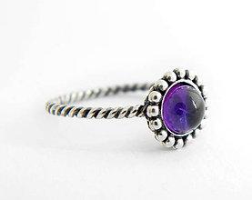 Prstene - 925 strieborný prsteň s ametystom - 9635639_