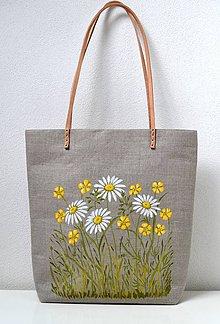 Veľké tašky - Ľanová taška s kvetmi - 9633808_