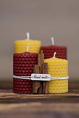 Svietidlá a sviečky - Sviečka zo 100% včelieho vosku - Točené hrubé - Bordové - 9633045_