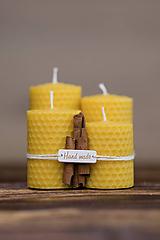 Svietidlá a sviečky - POSLEDNÉ KUSY - Sviečka zo 100% včelieho vosku - Točené hrubé - Žlté (darčekové balenie) - 9633046_