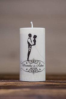 Darčeky pre svadobčanov - Sviečka pre mladomanželov v darčekovej krabičke - Manželský pár 1 - 9633024_
