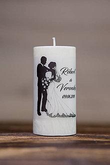 Darčeky pre svadobčanov - Sviečka pre mladomanželov v darčekovej krabičke - Manželský pár 2 - 9633034_