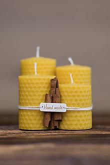 Svietidlá a sviečky - Sviečka zo 100% včelieho vosku - Točené hrubé 4ks - 9633046_