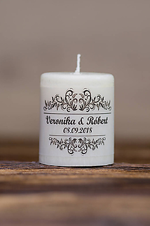 Darčeky pre svadobčanov - Menovka alebo darček pre svadobčanov - Sviečka - Vzor č.5 - 9633157_