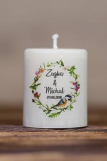 Darčeky pre svadobčanov - Menovka alebo darček pre svadobčanov - Sviečka - Vzor č.61 - 9633712_