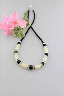 Sady šperkov - mesačný jadeit a ónyx náhrdelník - 9632988_