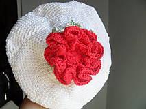 Detské čiapky - baretka s ružou - 9635244_