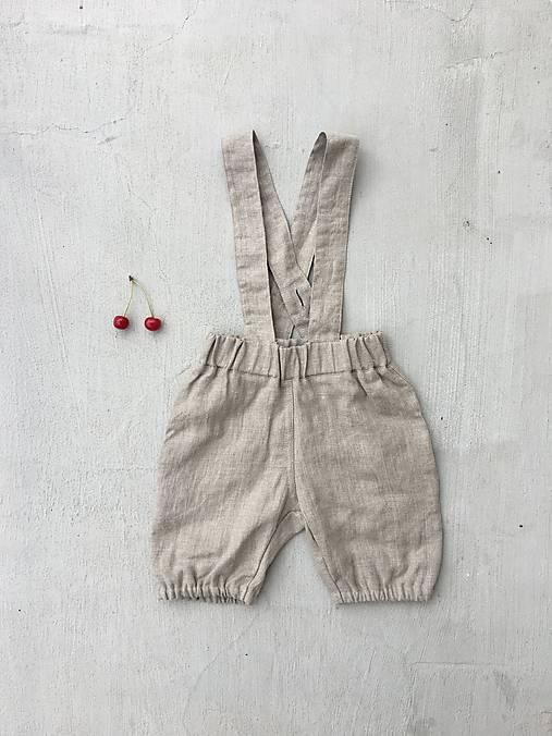Detské oblečenie - Detské bubble ľanové kraťasy na traky - dostupné v 18 farbách  - 9635345_